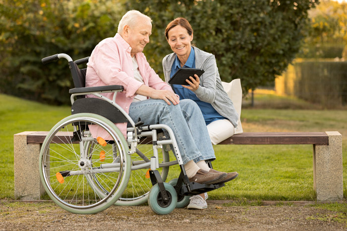 A caregiver providing support to a resident